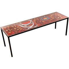 Ceramic French Riviera Vallauris Coffe Table by Jean Jaffeux on Java Panel, 1960