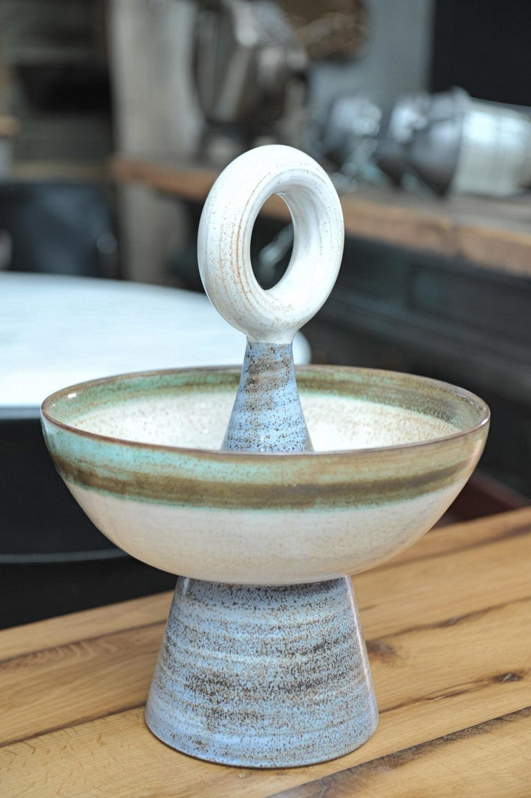 Ceramic Fruit Basket by Robert Picault, circa 1950 In Excellent Condition For Sale In Roubaix, FR