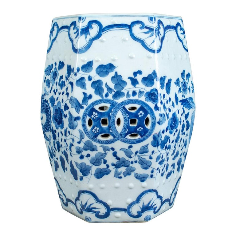 Ceramic Garden Stool Chinese Blue White Seat Plant Stand 20th
