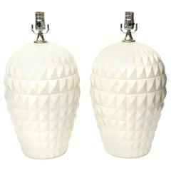 Ceramic Geometric Lamps Pair of Italian Vintage