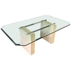 Ceramic, Glass, and Chrome Dining Table with a Coral Motif Postmodern