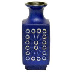 Ceramic Glazed Cobalt Blue Vase or Vessel Mid-Century Modern