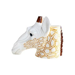 Ceramic Glazed Hand Painted Giraffe Animal Head Vase or Planter
