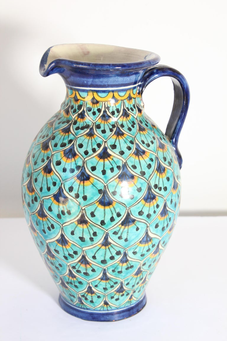 Moorish Ceramic Glazed Pitcher Handcrafted in Spain For Sale