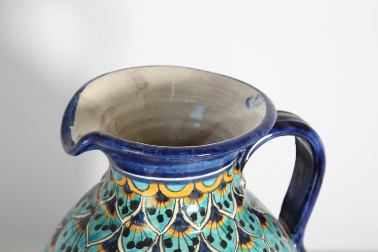 Spanish Ceramic Glazed Pitcher Handcrafted in Spain For Sale