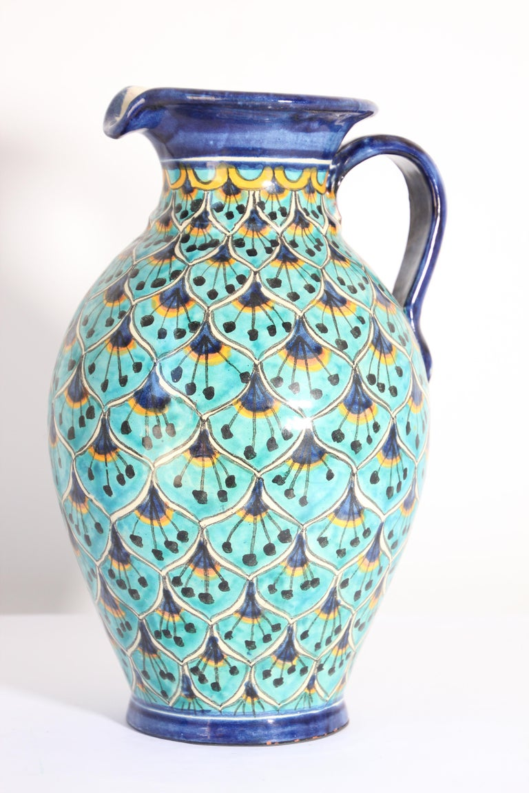 Ceramic Glazed Pitcher Handcrafted in Spain In Good Condition For Sale In North Hollywood, CA