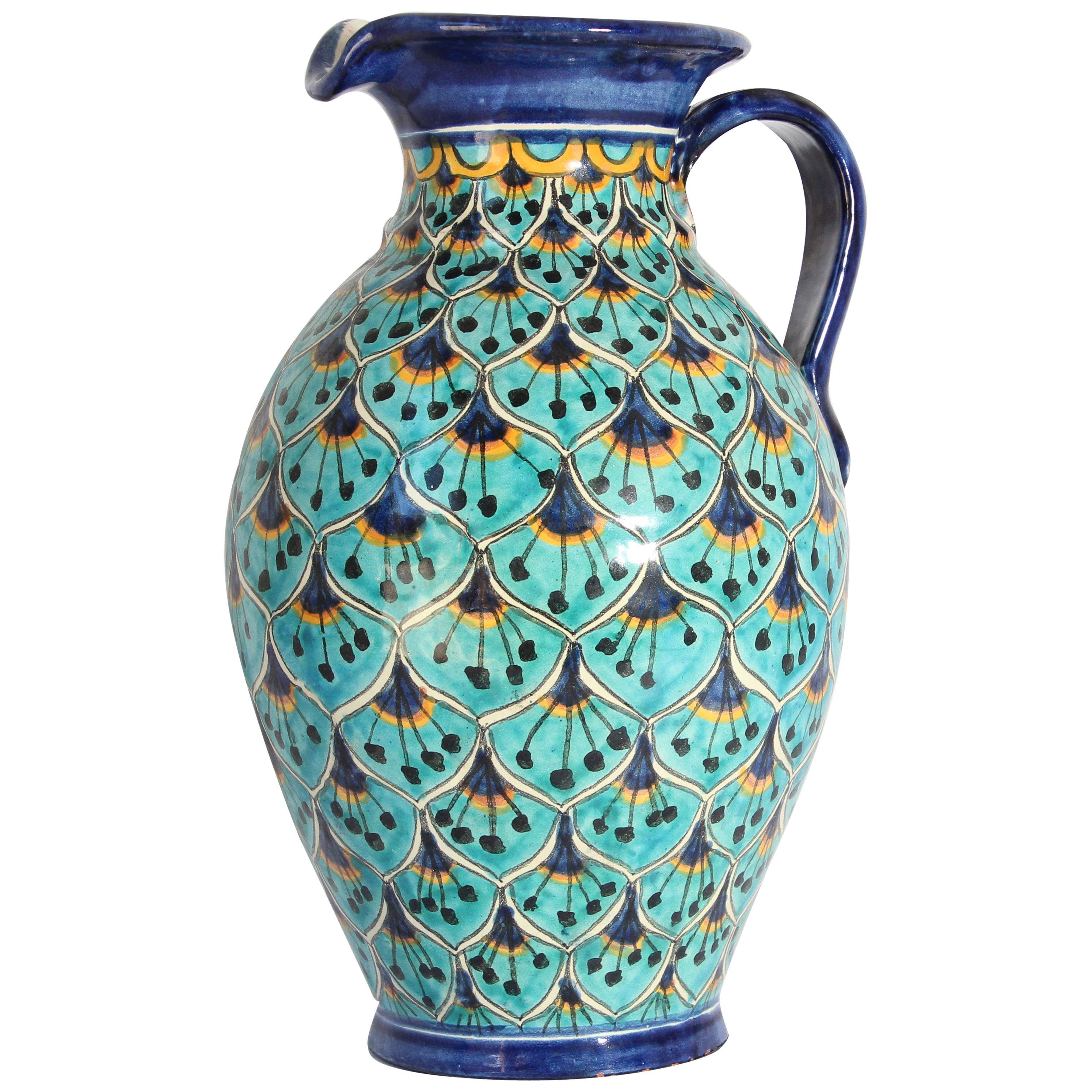 Ceramic Glazed Moorish Pitcher Vase Handcrafted in Spain
