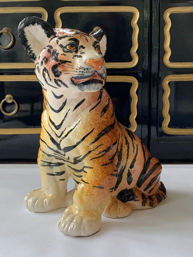 Vintage ceramic tiger cub statue stands 15