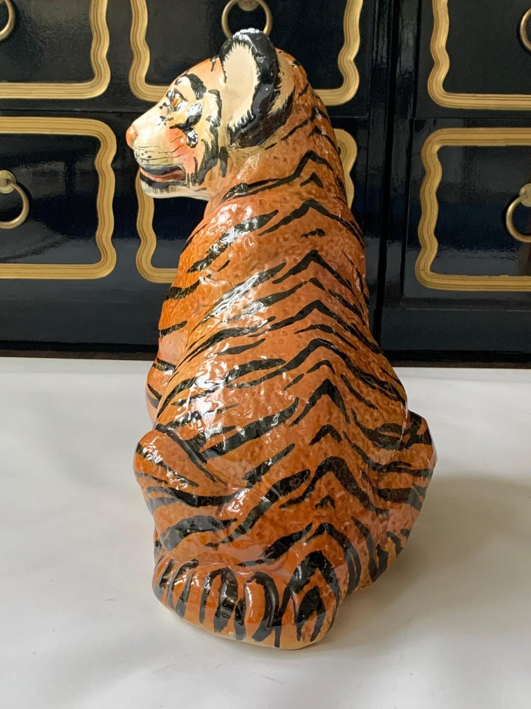 Hollywood Regency Ceramic Glazed Tiger Statue For Sale