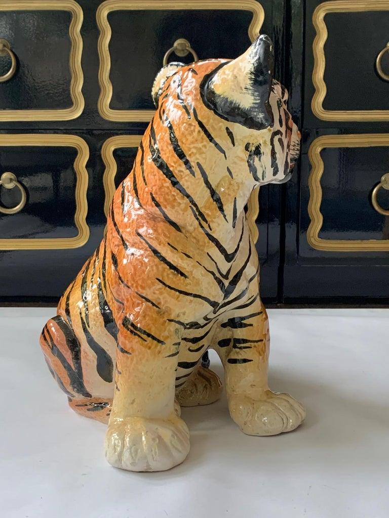 Ceramic Glazed Tiger Statue In Good Condition For Sale In Jacksonville, FL
