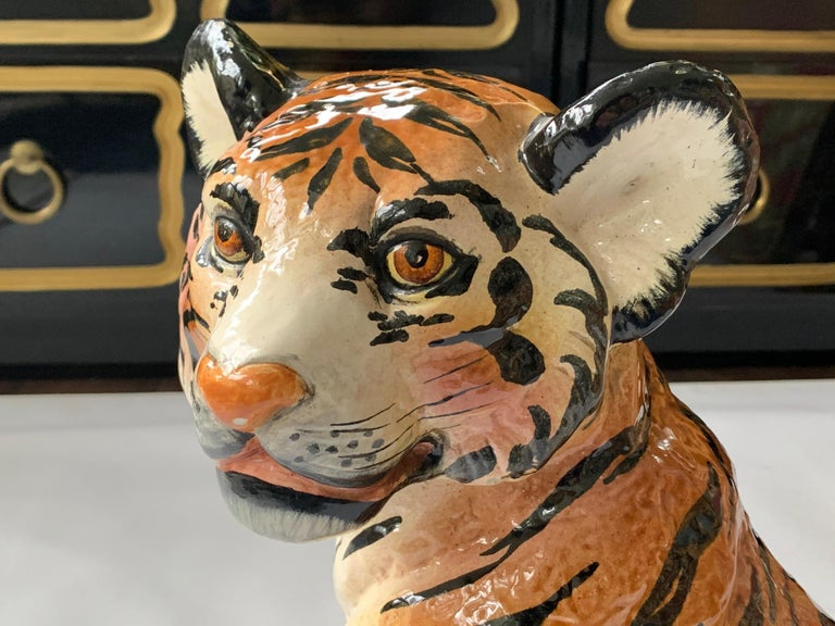 Late 20th Century Ceramic Glazed Tiger Statue For Sale