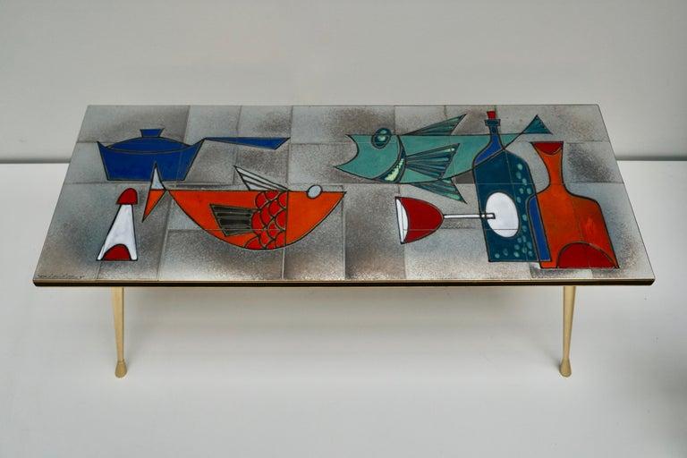 Mid-Century Modern Ceramic Glazed Tiles Coffee Table Decorated with Fish and Bottles For Sale