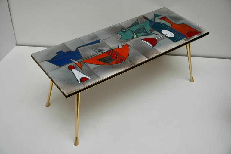 20th Century Ceramic Glazed Tiles Coffee Table Decorated with Fish and Bottles For Sale