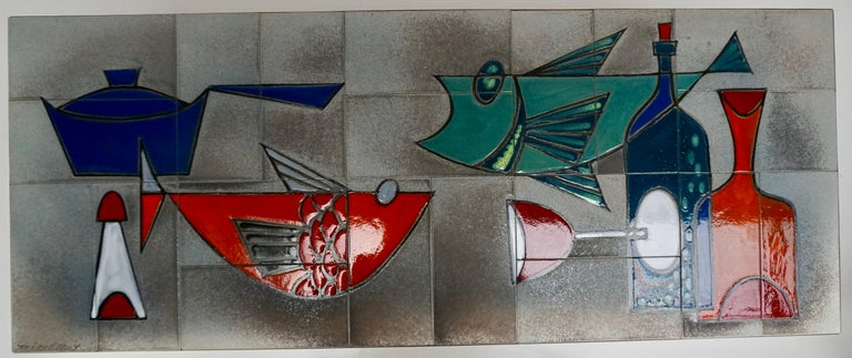 Ceramic Glazed Tiles Coffee Table Decorated with Fish and Bottles For Sale 2