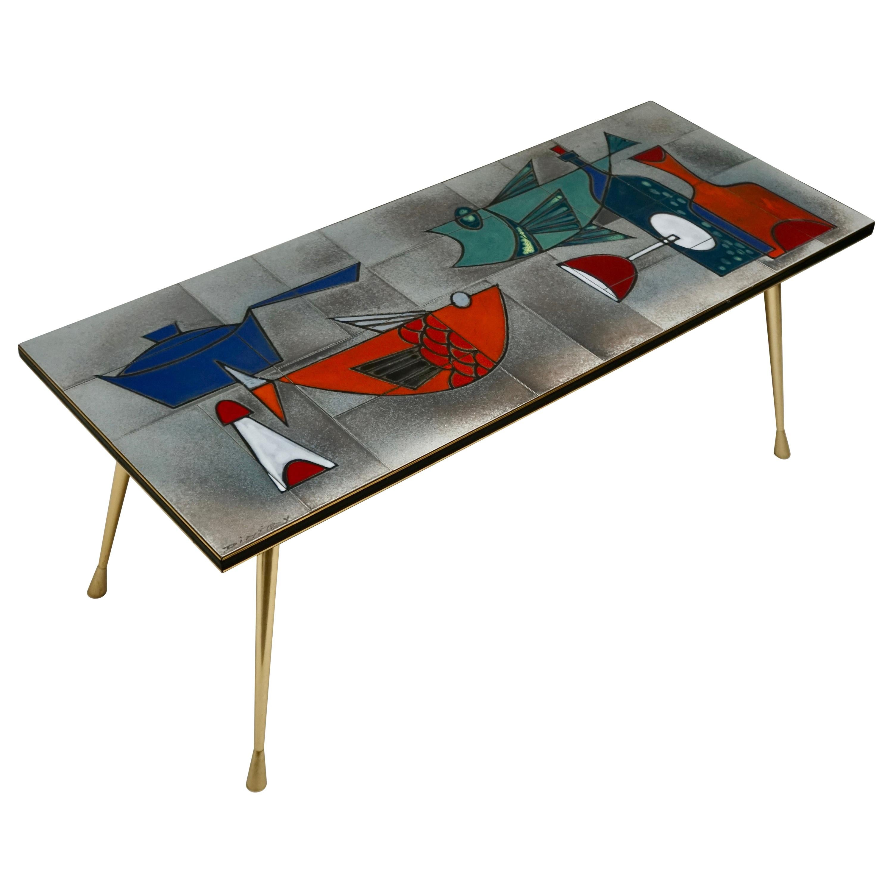 Ceramic Glazed Tiles Coffee Table Decorated with Fish and Bottles