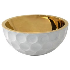 "Ceramic Golf Bowl ""EAGLE"" Handcrafted in 24Kt Gold by Gabriella B. Made in Italy"