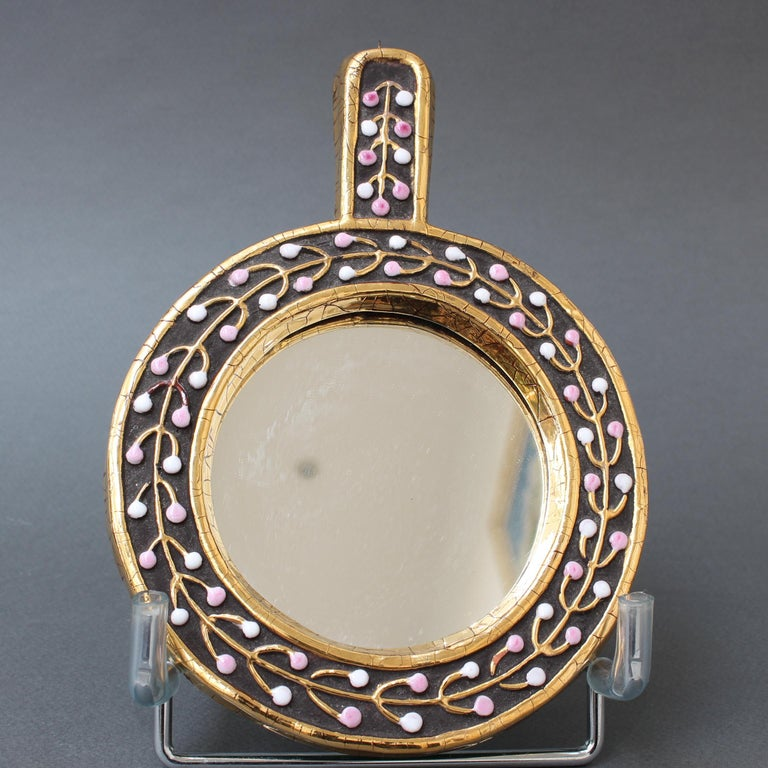 Ceramic Hand Mirror with Flower Bud Motif by François Lembo, circa 1960s For Sale 6
