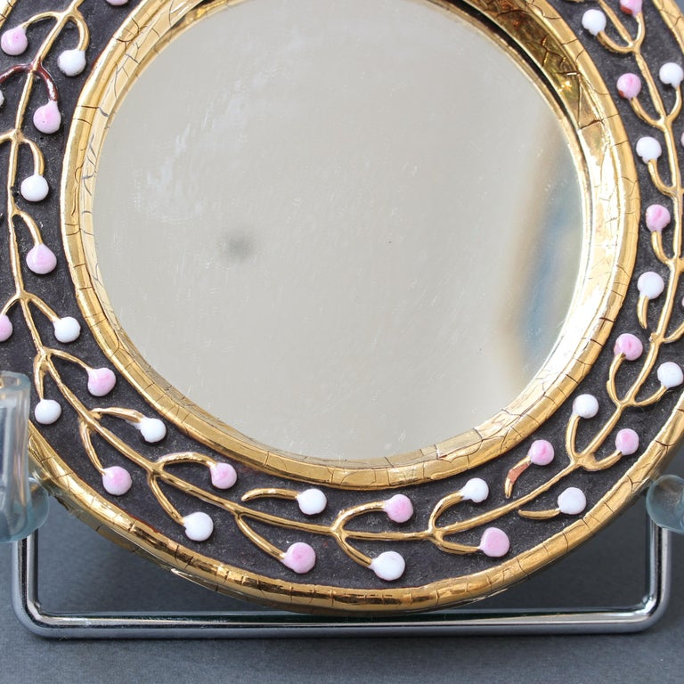 Ceramic Hand Mirror with Flower Bud Motif by François Lembo, circa 1960s For Sale 7