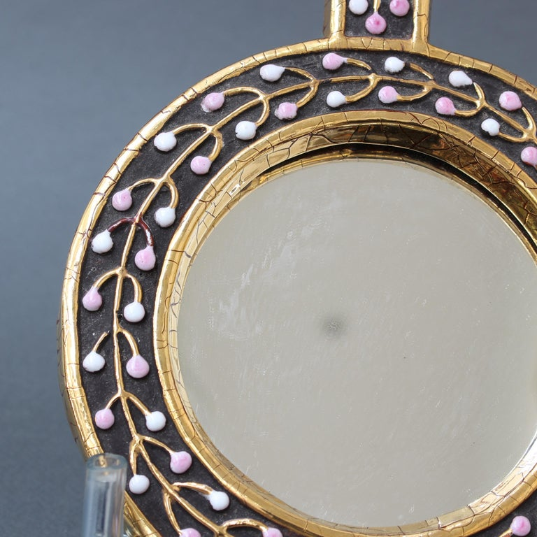 Ceramic Hand Mirror with Flower Bud Motif by François Lembo, circa 1960s For Sale 8