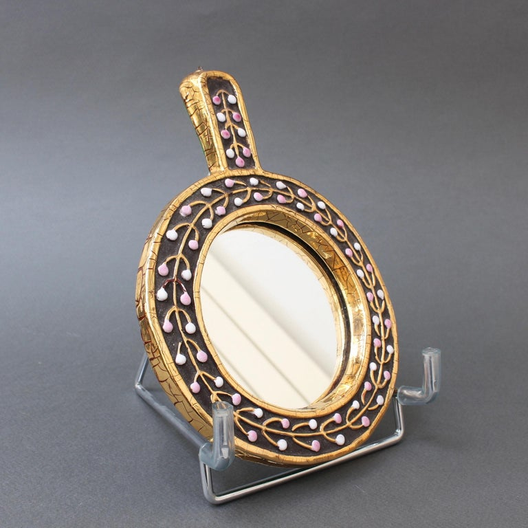 French Ceramic Hand Mirror with Flower Bud Motif by François Lembo, circa 1960s For Sale