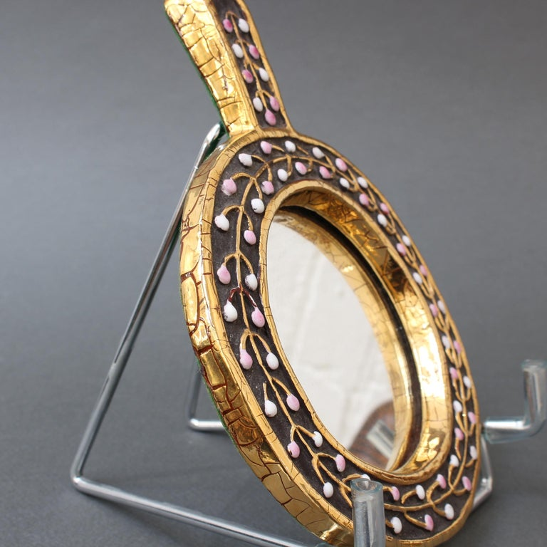 Ceramic Hand Mirror with Flower Bud Motif by François Lembo, circa 1960s For Sale 1