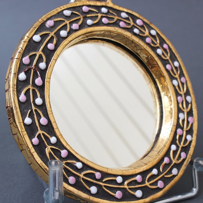 Ceramic Hand Mirror with Flower Bud Motif by François Lembo, circa 1960s For Sale 2
