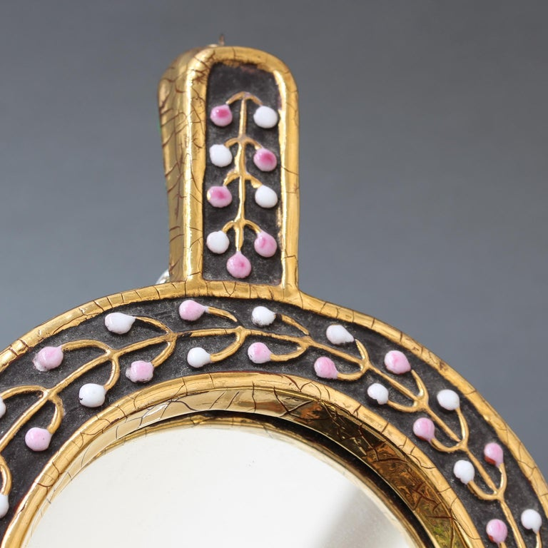 Ceramic Hand Mirror with Flower Bud Motif by François Lembo, circa 1960s For Sale 3