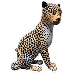 Ceramic Hand Painted Leopard, 1960s, Italy