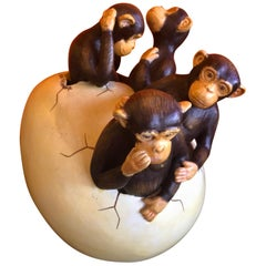 Ceramic Hatching Monkeys from Egg Sculpture by Sergio Bustamante