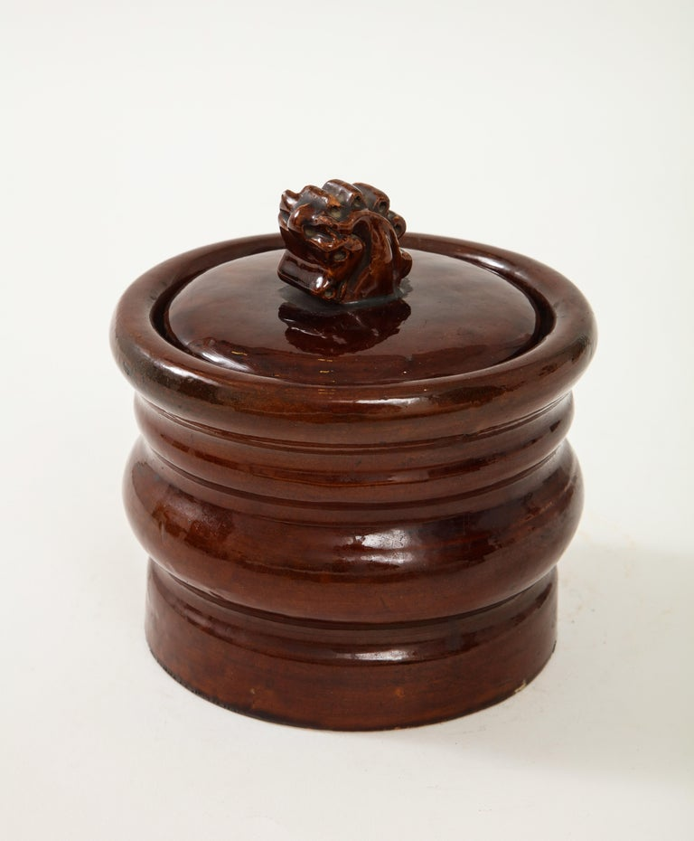 Ceramic Hermès Tabacco Jar In Good Condition For Sale In New York City, NY