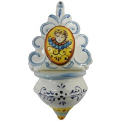 Ceramic Holy Water Font 20th Century Hand Painted