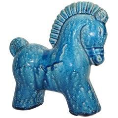 Ceramic Horse, Danish, C 1960, Mid-Century, Turquoise Color