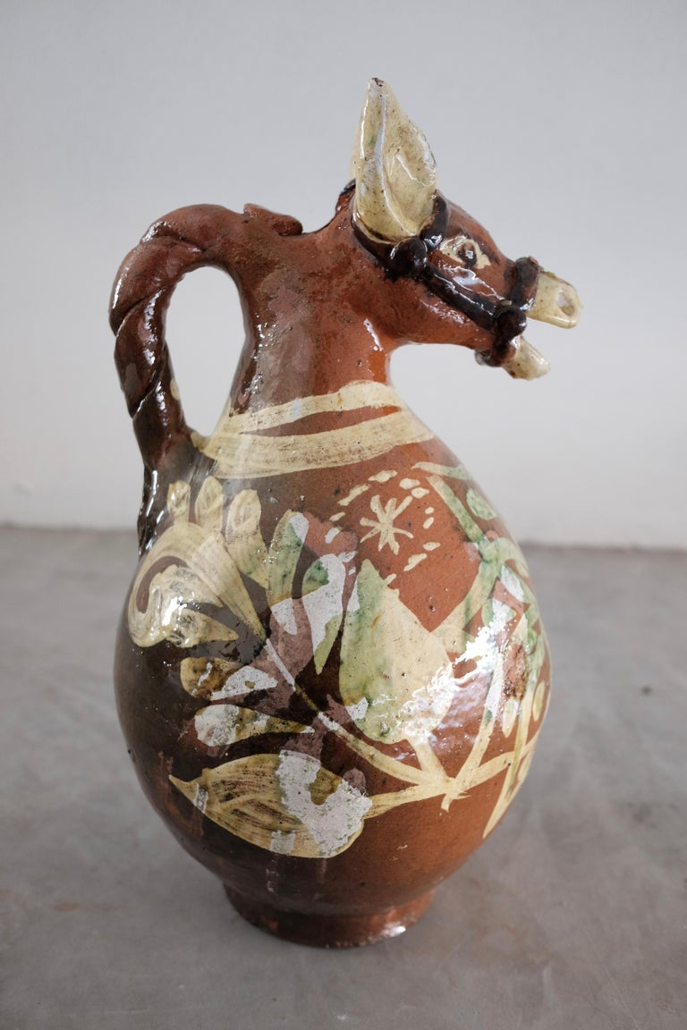 Folk Art Ceramic Horse Pitchers from Metepec, State of Mexico, 1980s For Sale
