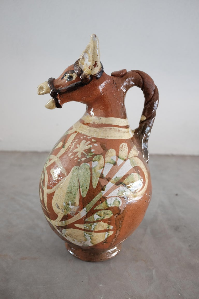Ceramic Horse Pitchers from Metepec, State of Mexico, 1980s In Good Condition For Sale In Sayulita, Nayarit