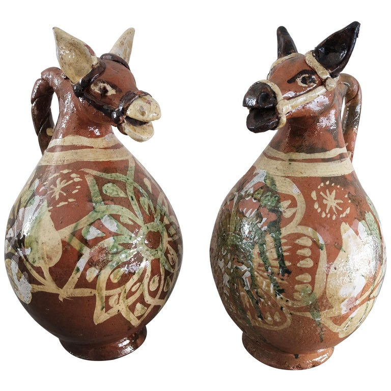 Ceramic Horse Pitchers From Metepec State Of Mexico
