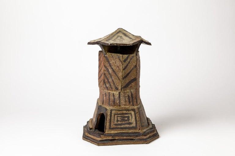 Mid-Century Modern Ceramic House Sculpture by Jacques Laroussinie Black Architecural Stoneware For Sale