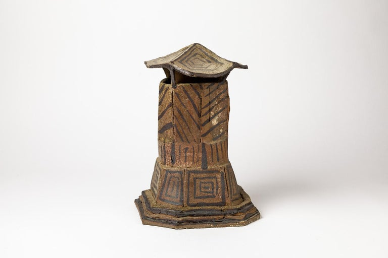 French Ceramic House Sculpture by Jacques Laroussinie Black Architecural Stoneware For Sale