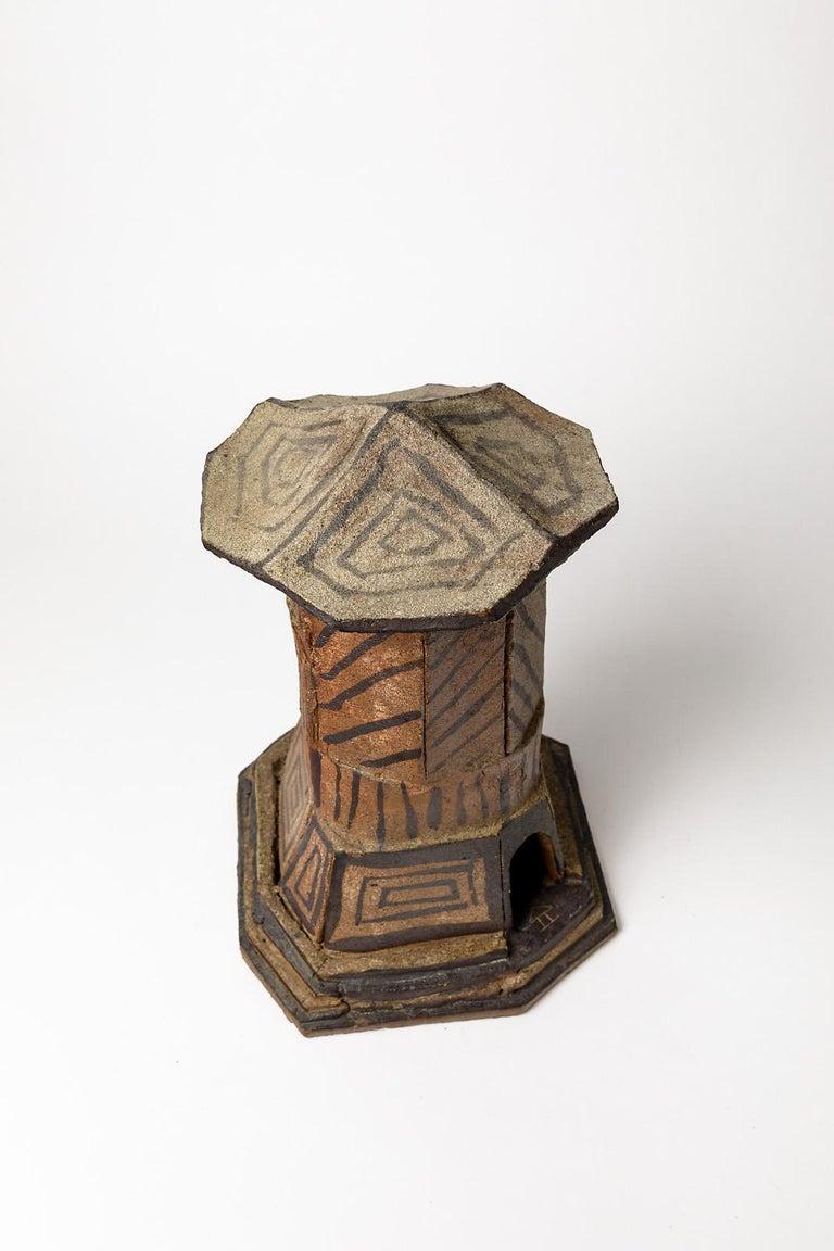 20th Century Ceramic House Sculpture by Jacques Laroussinie Black Architecural Stoneware For Sale