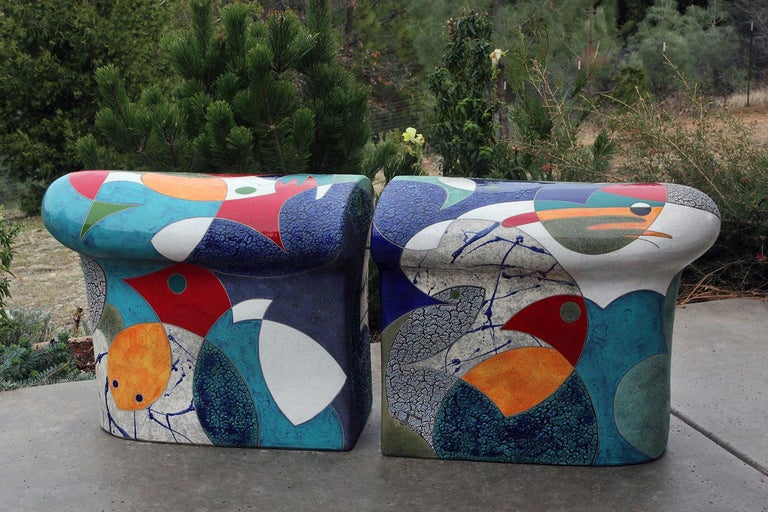 This curvy, colorful seat is brought to life with artist Michael Gustavson's masterfully detailed and gorgeously textured glazes in a variety of colors. The two hand-built ceramic elements can be spaced apart for individual seats, or together to