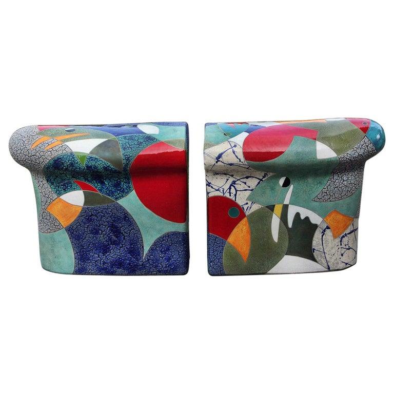 "Ceramic Indoor/Outdoor ""Aquarium Bench"" by Michael Gustavson For Sale"
