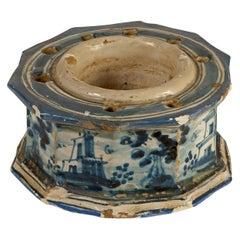 Ceramic Inkwell, Talavera De La Reina, Spain, 18th Century