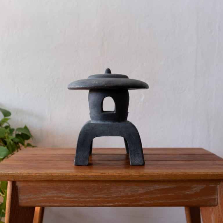 Black glazed over terracotta lantern. Removable top for a candle. Great Minimalist design.