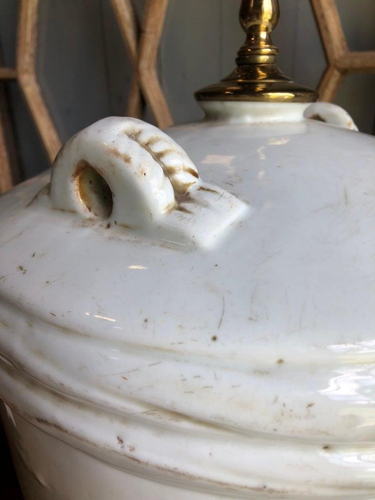 Ceramic Japanese Sake Barrel, Mounted as Lamp For Sale 5