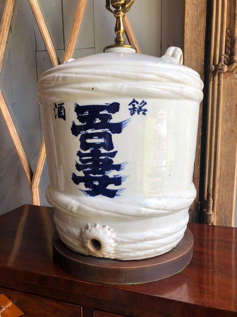 Japonisme Ceramic Japanese Sake Barrel, Mounted as Lamp For Sale