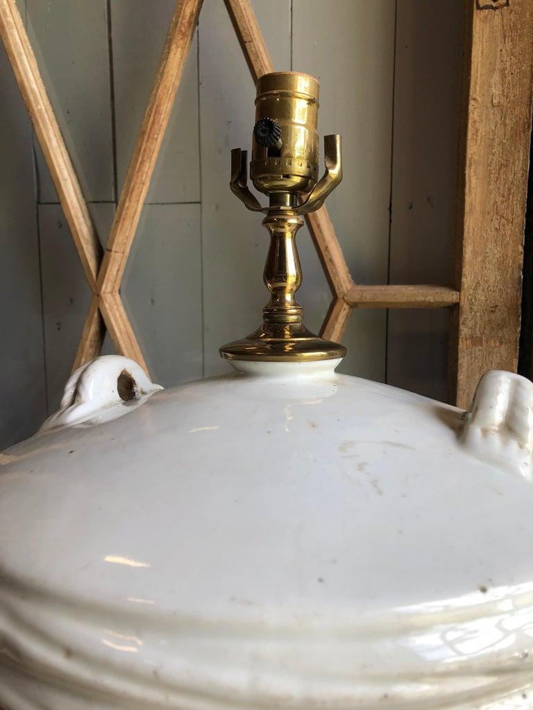 Ceramic Japanese Sake Barrel, Mounted as Lamp For Sale 1