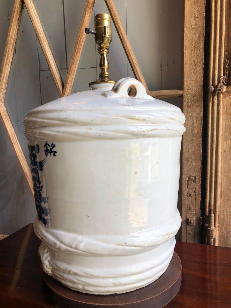 Ceramic Japanese Sake Barrel, Mounted as Lamp For Sale 2