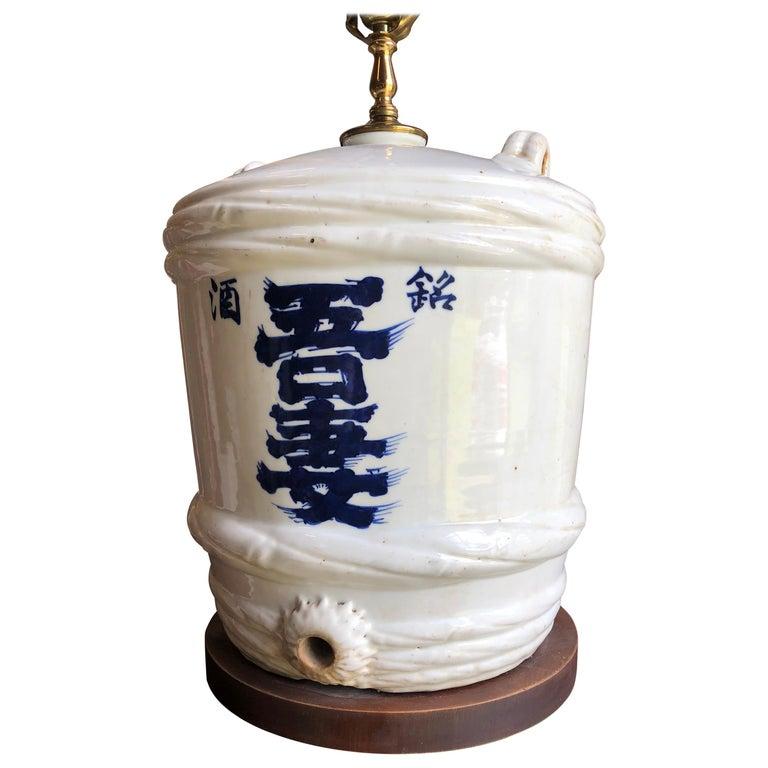 Ceramic Japanese Sake Barrel, Mounted as Lamp For Sale