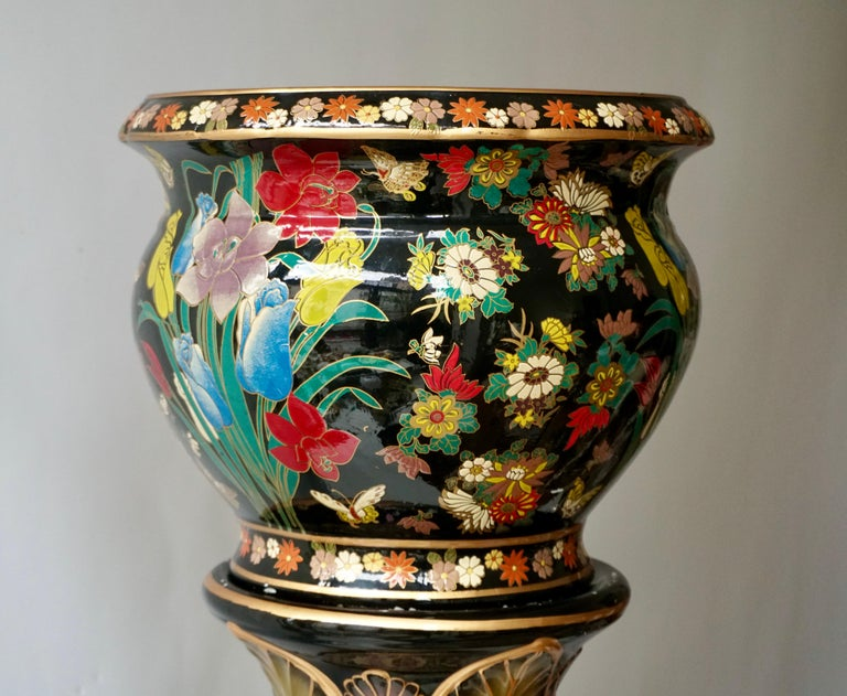 Painted Ceramic Jardinière 'Planter and Stand' Pedestal Decorated with Flowers For Sale