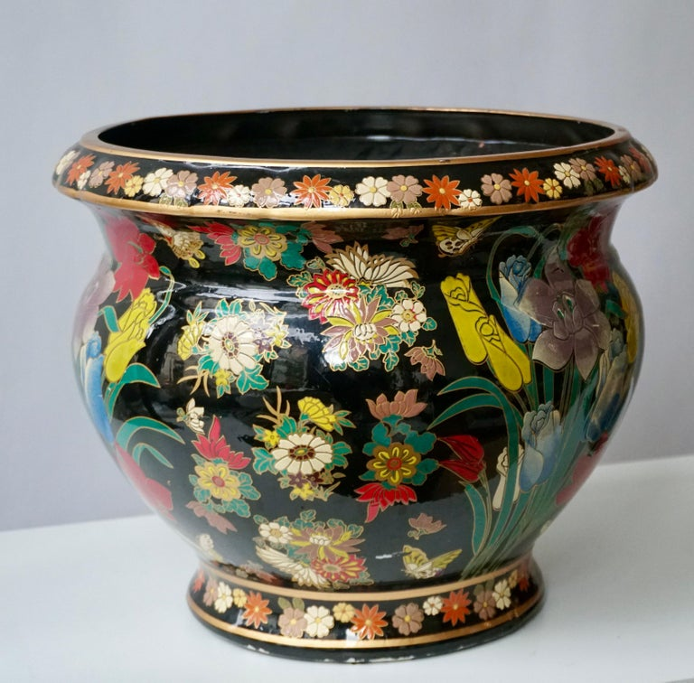 20th Century Ceramic Jardinière 'Planter and Stand' Pedestal Decorated with Flowers For Sale