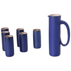 Ceramic Jug and Six Mugs with Blue Glaze by Kasper Würtz